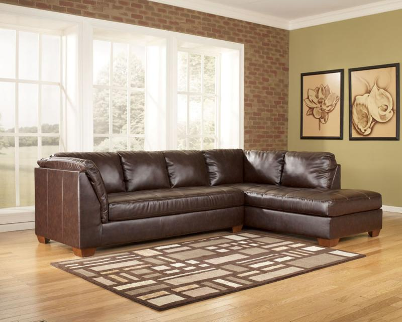 : brown leather sofa with chaise - Sectionals, Sofas & Couches