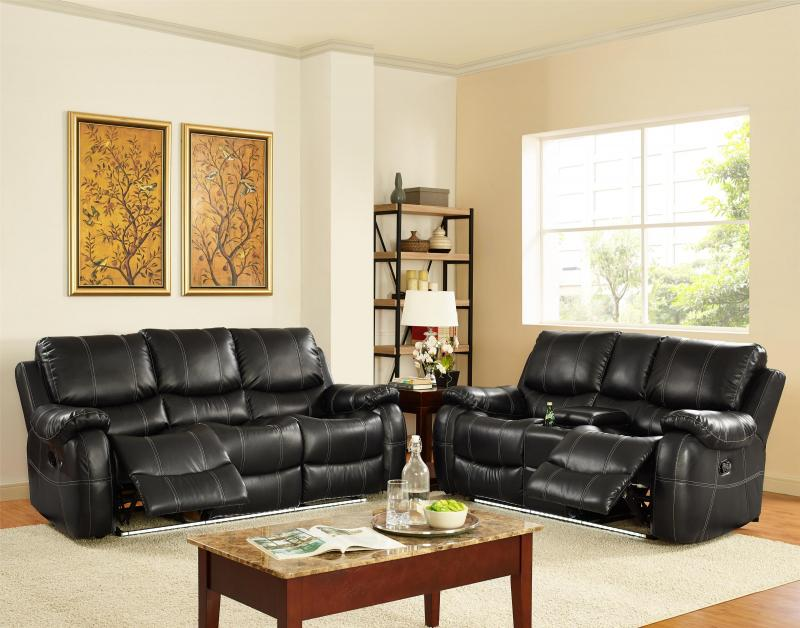 Lynx Black Bonded Leather Dual Reclining Sofa